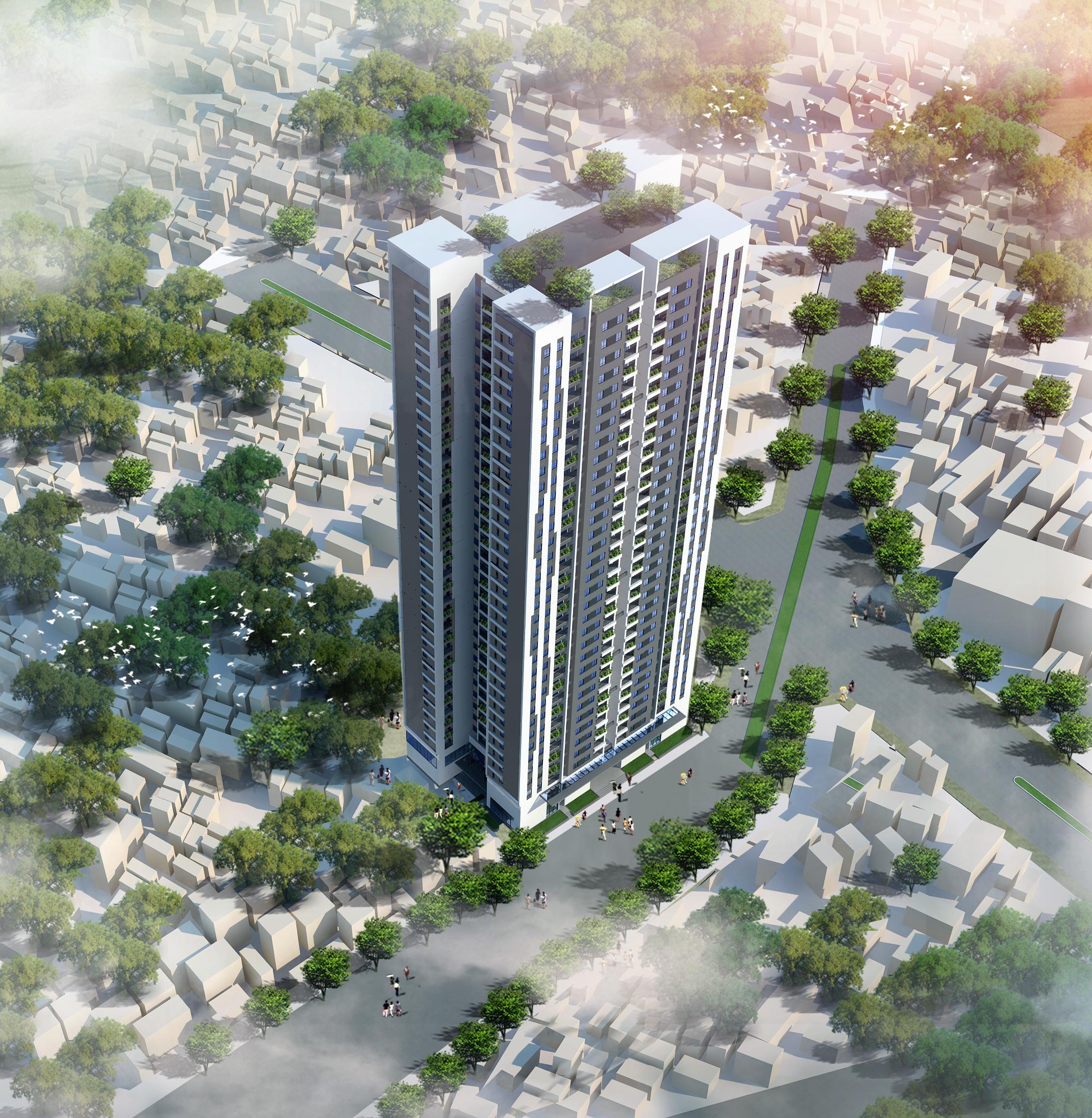 Phối cảnh tổng quan Chung cư Trung yên Smile Building